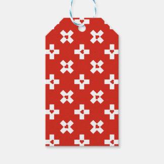 Etiqueta Para Presente Bandeira da suiça com teste padrão do coração