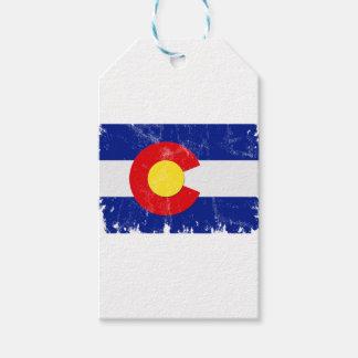 Etiqueta Para Presente Bandeira de Colorado afligida