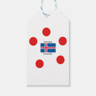Etiqueta Para Presente Bandeira de Islândia e design islandês da língua