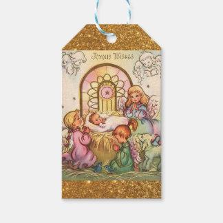 Etiqueta Para Presente Bebê Jesus do Natal em anjos do comedoiro