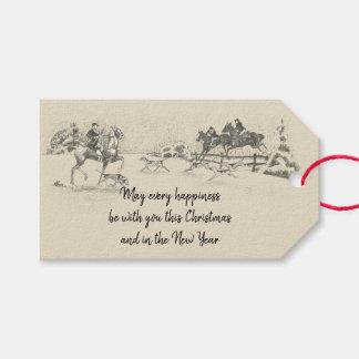 Etiqueta Para Presente Bege equestre do Natal feliz do Victorian do