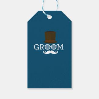 Etiqueta Para Presente Bigode & chapéu engraçados do noivo para o partido