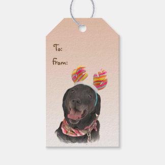 Etiqueta Para Presente Bloco preto do cão de labrador retriever de Tag do