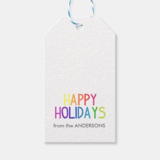 Etiqueta Para Presente Boas festas roteiro do arco-íris personalizado