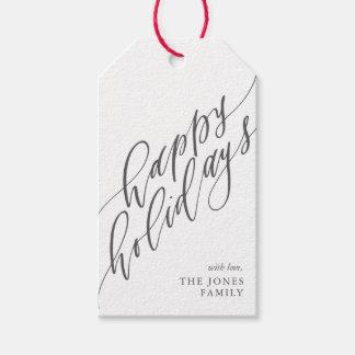 Etiqueta Para Presente Boas festas Tag do presente da caligrafia