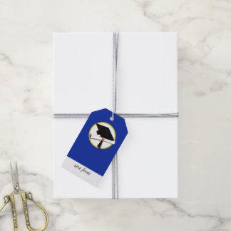 Etiqueta Para Presente Boné de formatura w/Diploma - Fundo azul escuro