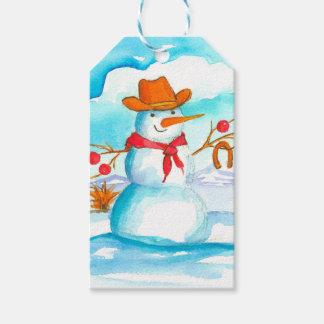 Etiqueta Para Presente Boneco de neve do vaqueiro do Feliz Natal