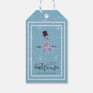 Etiqueta Para Presente Boneco de neve ID440 azul do Natal da mágica e da