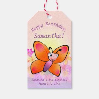 Etiqueta Para Presente Borboleta bonito com flores coloridas
