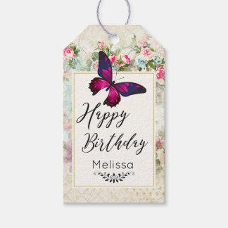 Etiqueta Para Presente Borboleta cor-de-rosa e aniversário gasto dos