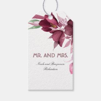 Etiqueta Para Presente Borgonha floresce o casamento elegante da aguarela