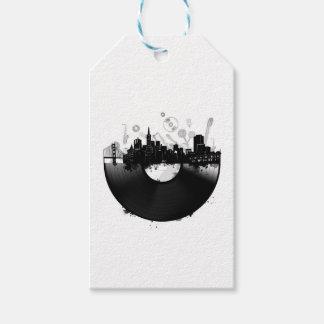 Etiqueta Para Presente branco do vinil da skyline da cidade de San