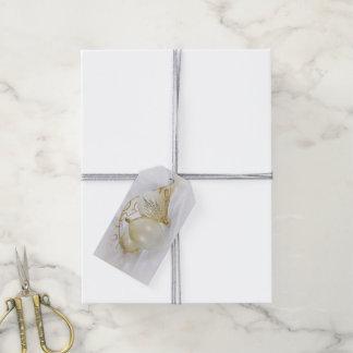 Etiqueta Para Presente branco e ornamento do ouro com fita