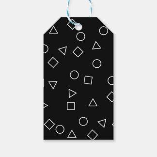 Etiqueta Para Presente Branco geométrico minimalista elegante do preto do