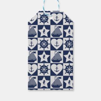 Etiqueta Para Presente Branco náutico dos azuis marinhos checkered