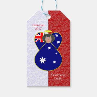 Etiqueta Para Presente Branco vermelho australiano do cabelo preto da