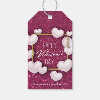 Etiqueta Para Presente Brilho branco dos corações do dia dos namorados -