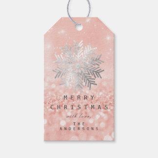 Etiqueta Para Presente Brilho do rosa cor-de-rosa da prata dos flocos da