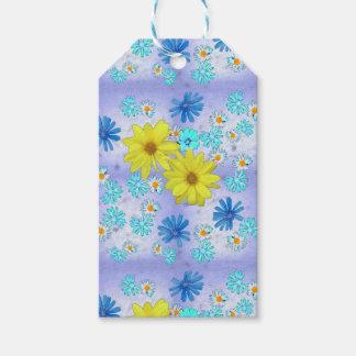 Etiqueta Para Presente Buquê da flor do país no azul e no amarelo