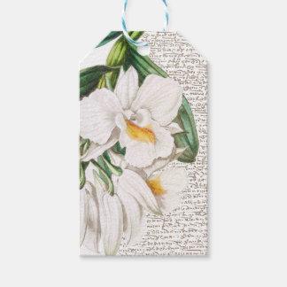Etiqueta Para Presente Caligrafia branca das orquídeas