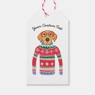 Etiqueta Para Presente Camisola feia engraçada do Natal, cão que veste