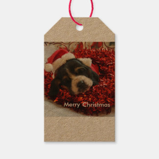 Etiqueta Para Presente Cão de Basset do Tag do presente do Natal