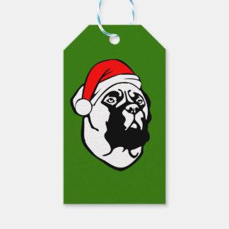 Etiqueta Para Presente Cão de Bullmastiff com o chapéu do papai noel do