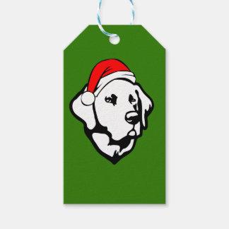 Etiqueta Para Presente Cão de Labrador com o chapéu do papai noel do