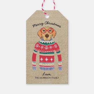 Etiqueta Para Presente Cão engraçado do amante do cão que veste a