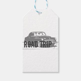 Etiqueta Para Presente Carro vintage da viagem por estrada