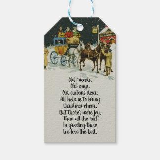 Etiqueta Para Presente Carruagem vermelha do feriado do Natal do