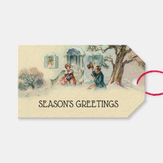 Etiqueta Para Presente Cartões de natal do Victorian do vintage vizinhos