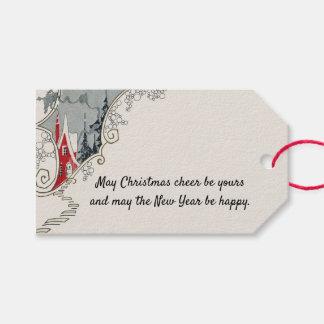 Etiqueta Para Presente Casa do art deco do elogio do Natal do Victorian