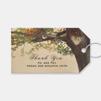 Etiqueta Para Presente Casamento cinzelado do coração da queda árvore
