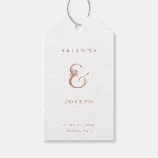 Etiqueta Para Presente Casamento cor-de-rosa do ouro do falso floral do