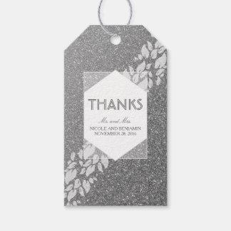 Etiqueta Para Presente Casamento da prata do brilho e do louro das folhas