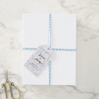Etiqueta Para Presente Casamento de mármore azul romântico