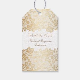 Etiqueta Para Presente Casamento elegante branco do laço do ouro