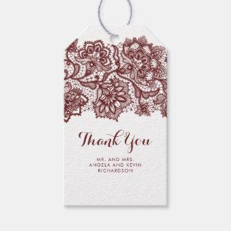 Etiqueta Para Presente Casamento elegante do laço de Borgonha
