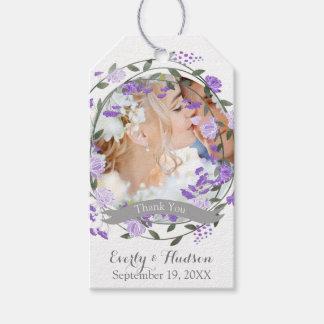 Etiqueta Para Presente Casamento floral da grinalda da peônia roxa