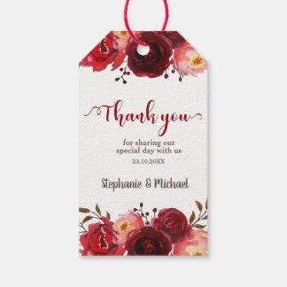 Etiqueta Para Presente Casamento floral das rosas vermelhas de Borgonha
