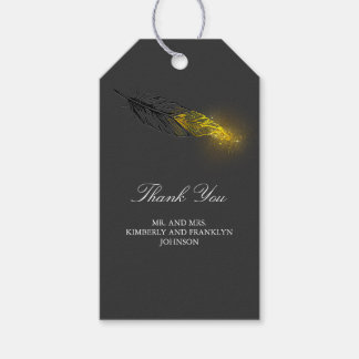 Etiqueta Para Presente Casamento preto elegante da pena do ouro