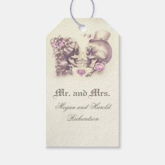 Etiqueta Para Presente Casamento roxo do vintage do casal do crânio