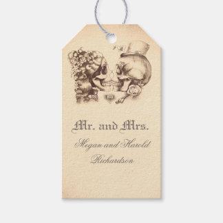Etiqueta Para Presente Casamento velho do vintage do casal do crânio