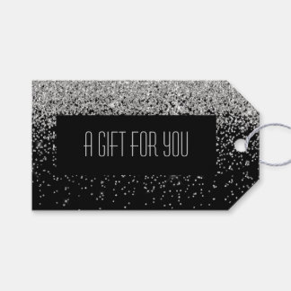 Etiqueta Para Presente Cascatas Glam do fundo de prata do preto do brilho