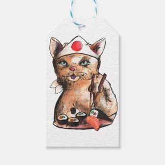 Etiqueta Para Presente cat eating sushi