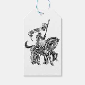 Etiqueta Para Presente Cavaleiro na gravura do Woodcut do vintage do