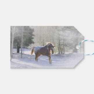 Etiqueta Para Presente Cavalo bonito nos Tag do presente do Natal da neve