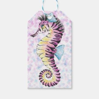 Etiqueta Para Presente cavalo marinho cor-de-rosa