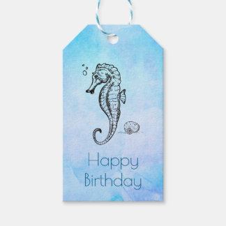 Etiqueta Para Presente Cavalo marinho e Seashell no aniversário azul da
